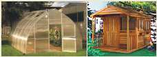 Small shed and a greenhouse. Click image for more info on anchoring greenhouses